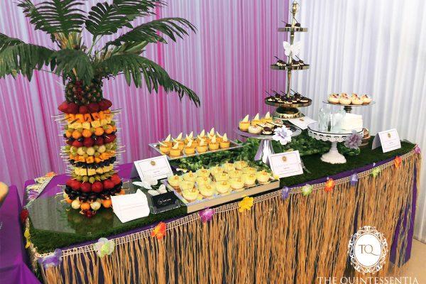 Hawaiian Themed Dessert Table with Fruit Tree